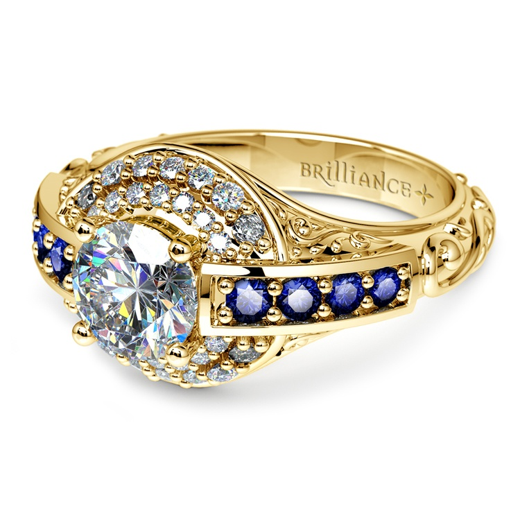 Antique Halo Diamond Amp Sapphire Engagement Ring In Yellow Gold