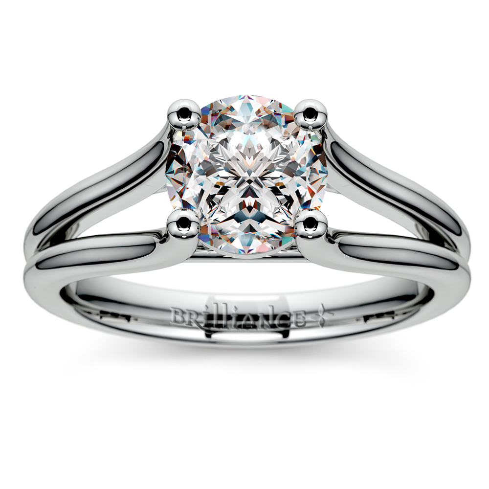 Curved Split Shank Solitaire Engagement Ring In White Gold