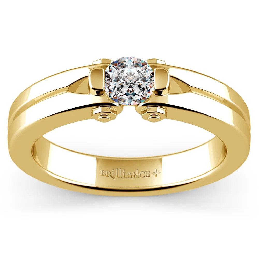 Perses Solitaire Mangagement Ring In Yellow Gold 12 Ctw