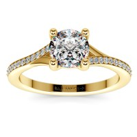 Split Shank Micropave Diamond Engagement Ring in Yellow Gold