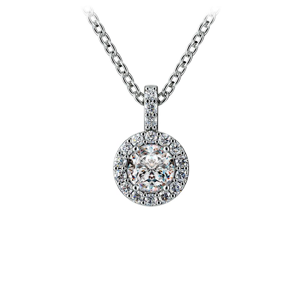 Halo Diamond Solitaire Pendant in White Gold (1/2 ctw)