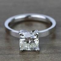 2 Carat Cushion Flat Solitaire Diamond Engagement Ring