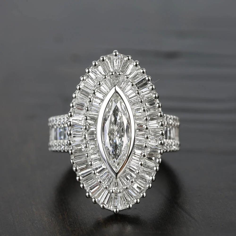 Baguette Diamond Double Halo Engagement Ring