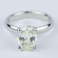 Engagement Ring with L Color Oval Cut Diamond