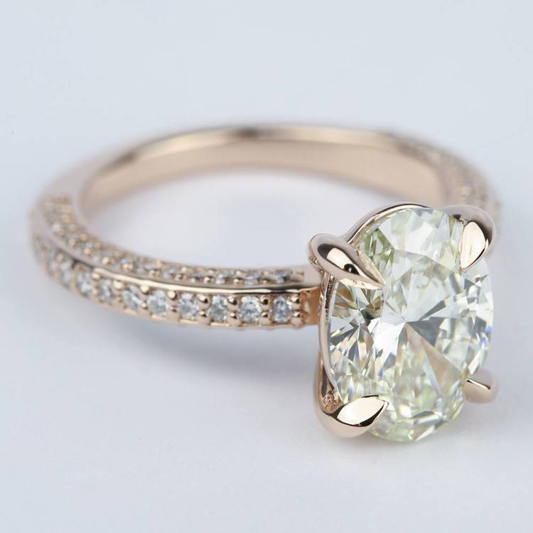 Three-Sided Oval Diamond Engagement Ring in Rose Gold (3 Carat)