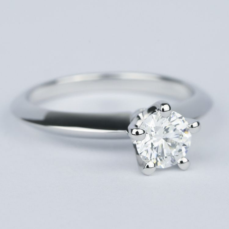 Five Prong Diamond Engagement Ring With Knife Edge Band