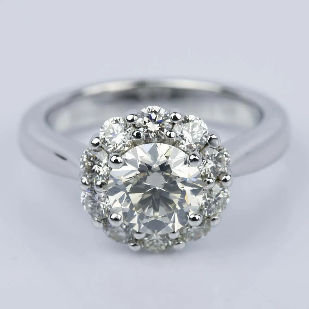 Floral Halo Diamond Engagement Ring in White Gold 113 ct