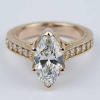 Hand-Carved Milgrain Marquise Diamond Engagement Ring (2 ct.)