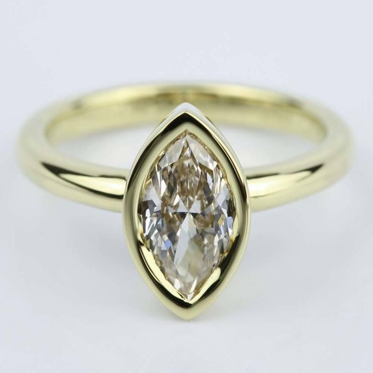 Marquise Diamond Bezel Engagement Ring 1 Carat