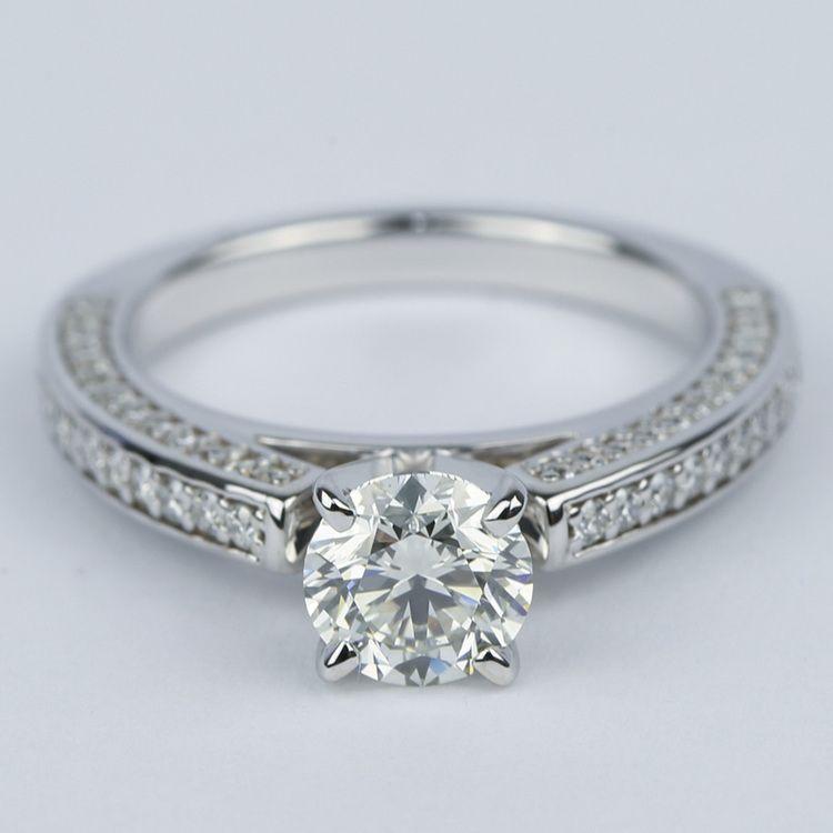 Pave Three Sided Diamond Engagement Ring 1 Carat