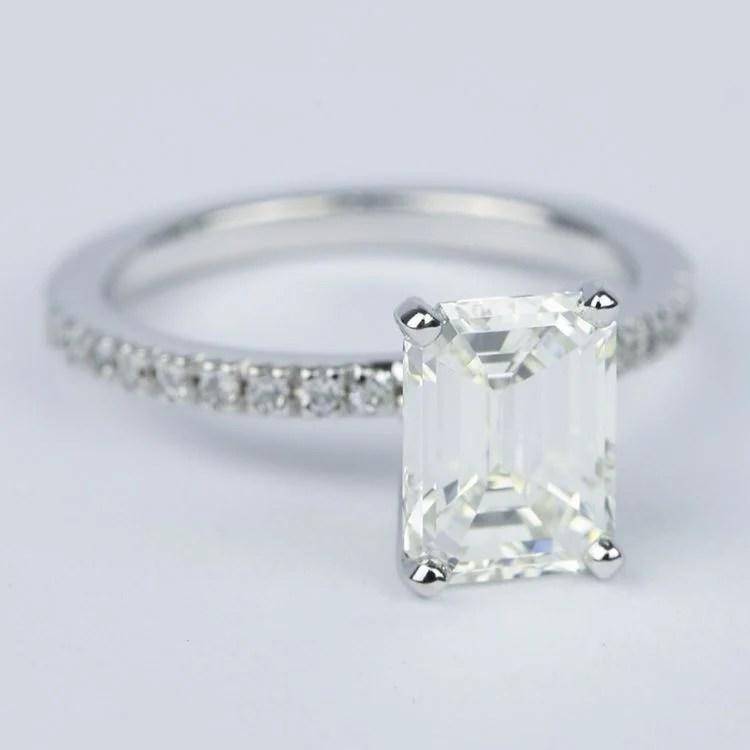 Petite Pave Emerald Diamond Engagement Ring 2 Carat