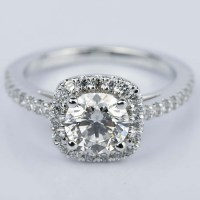 Square Halo 1 Carat Diamond Engagement Ring in White Gold