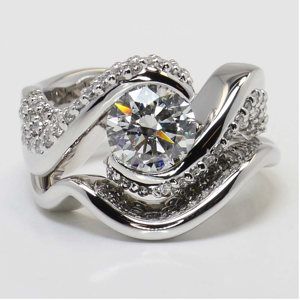 Twisted Diamond Engagement Ring And Matching Band In White