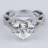 Twisted Split Shank Engagement Ring with Heart Diamond (3 ...