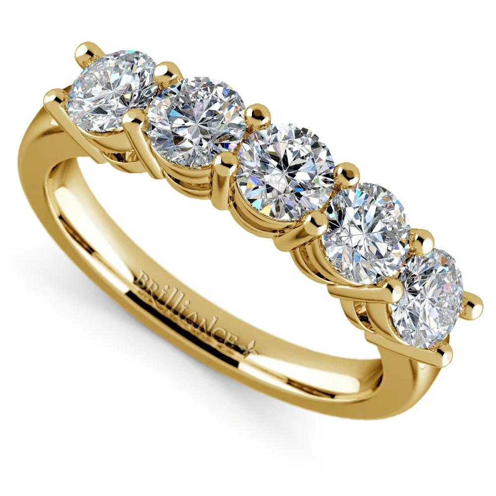 Five Diamond Wedding Ring in Yellow Gold 1 12 ctw