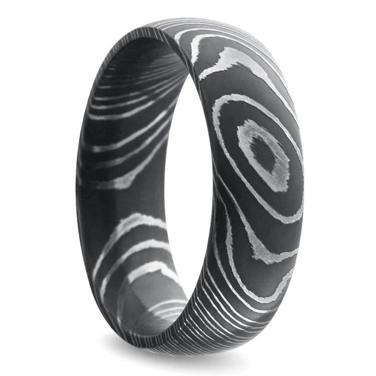 Acid Wash Comfort Fit Mens Wedding Ring In Damascus Steel