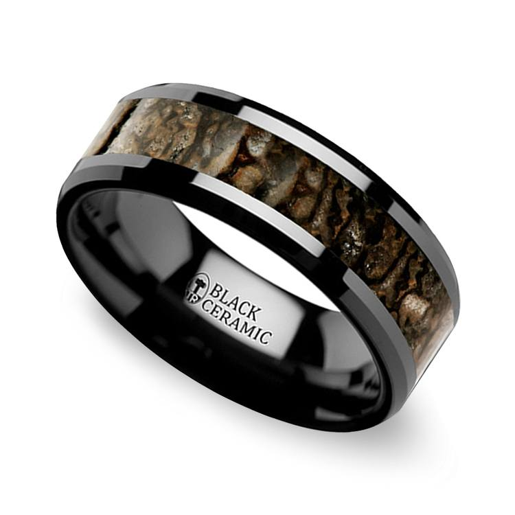 Beveled Dinosaur Bone Inlay Mens Wedding Ring In Black