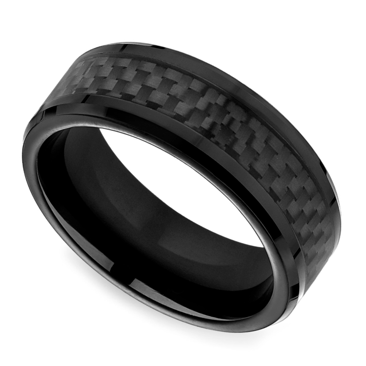 Black Carbon Fiber Mens Wedding Ring In Cobalt