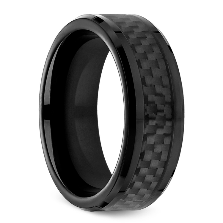 Black Carbon Fiber Mens Wedding Ring In Cobalt