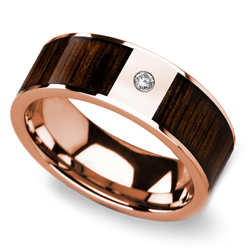 Black Walnut Wood Inlay Mens Wedding Ring With Diamond In