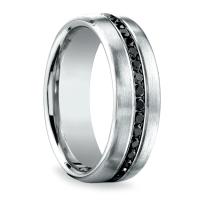 Channel Black Diamond Men's Wedding Ring in White Gold