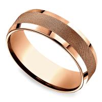 Cross Hatch Men's Wedding Ring in Rose Gold