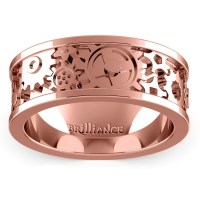 Gear Channel Men's Wedding Ring In Rose Gold