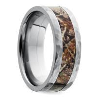 Hammered Flat Camouflage Inlay Men's Wedding Ring in Titanium