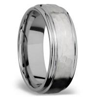 Hammered Flat Men's Wedding Ring in Titanium (8mm)