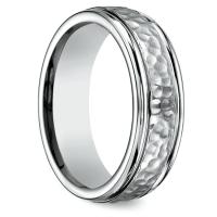 Hammered Men's Wedding Ring in Titanium
