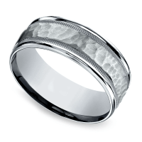 Hammered Milgrain Men's Wedding Ring in White Gold