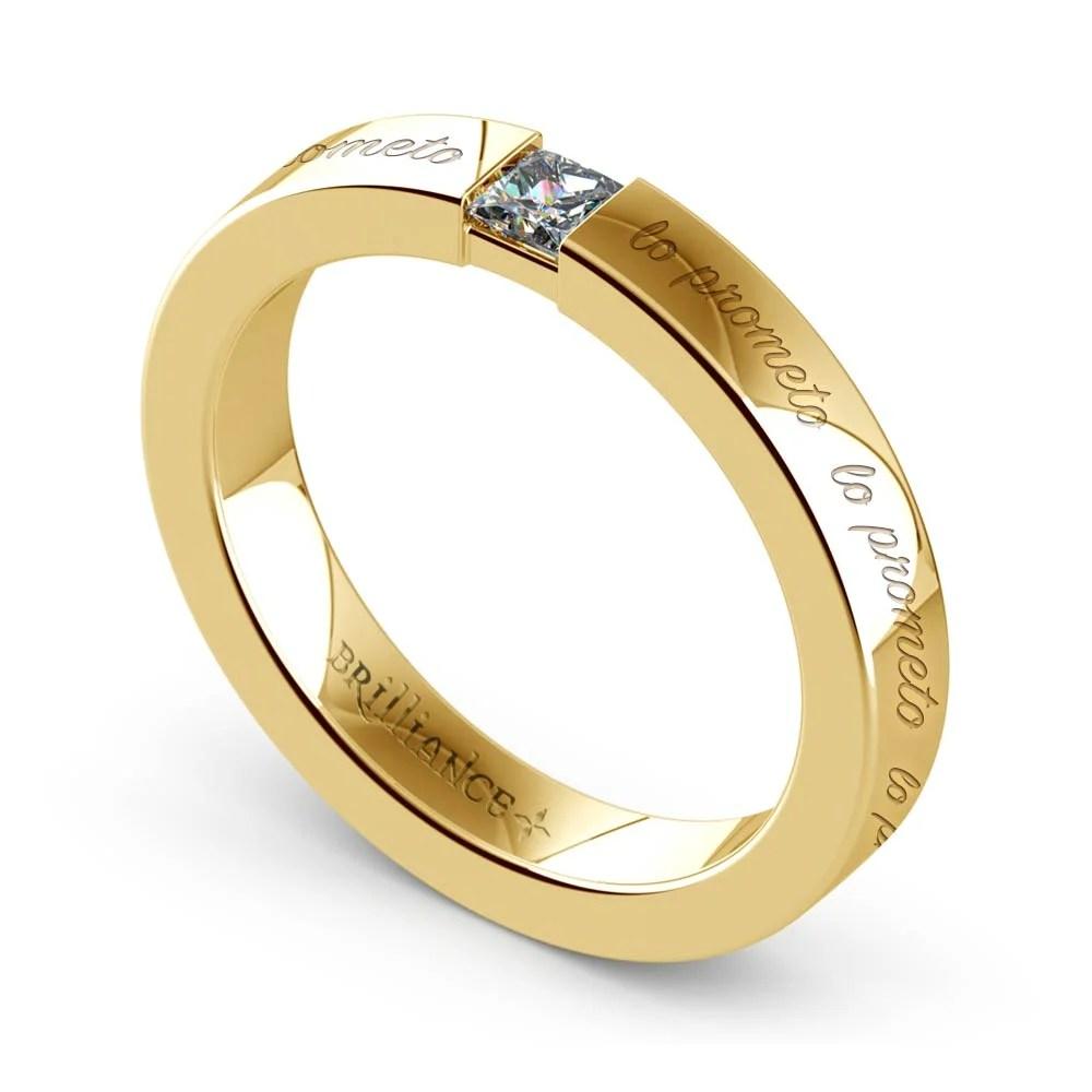 """Lo Prometo"" Princess Diamond Promise Ring in Yellow Gold"