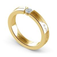 """Lo Prometo"" Round Diamond Promise Ring in Yellow Gold (3 ..."