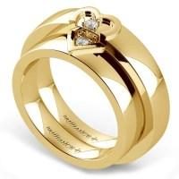 Matching Split Heart Diamond Wedding Ring Set in Yellow Gold