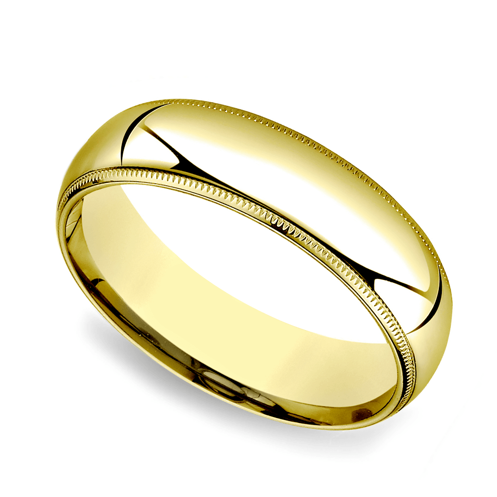 Milgrain Comfort Fit Mens Wedding Band In Yellow Gold 6mm