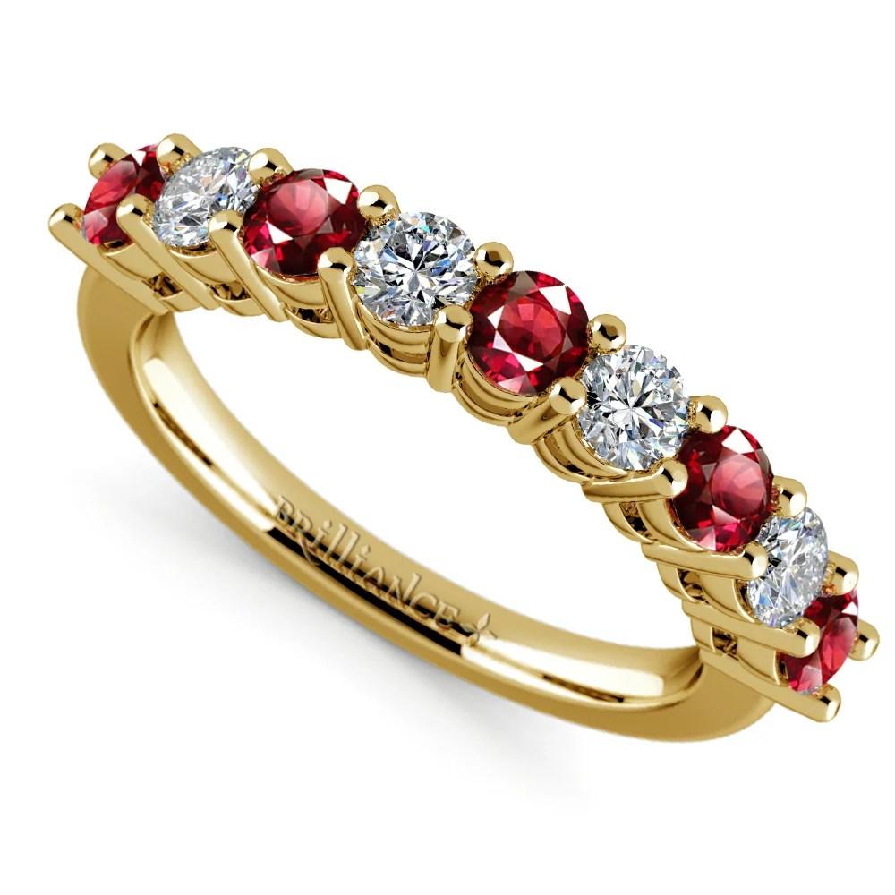 Nine Diamond  Ruby Wedding Ring in Yellow Gold