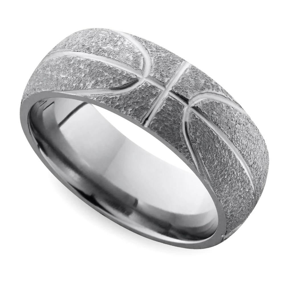 Stipple Finish Basketball Pattern Mens Wedding Ring in Titanium