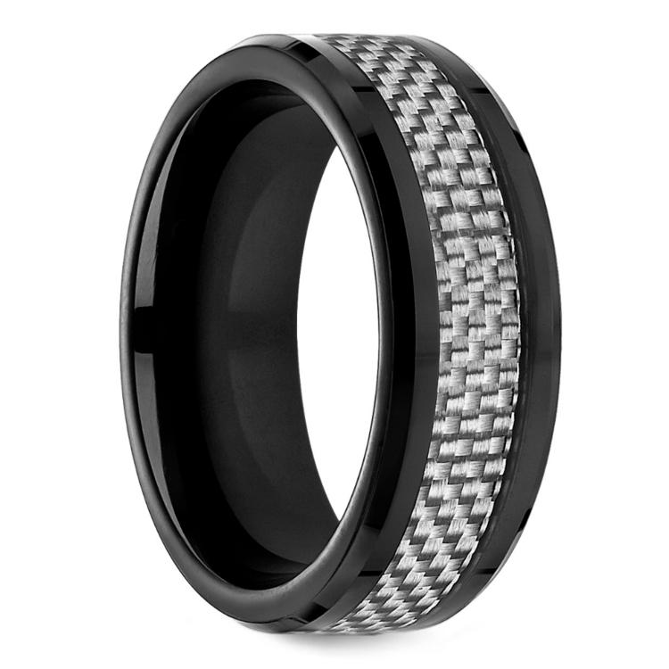 White Carbon Fiber Mens Wedding Ring In Cobalt