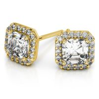 Halo Asscher Diamond Earring Settings in Yellow Gold ...