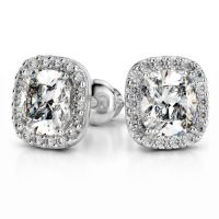 Halo Cushion Diamond Earring Settings in Platinum