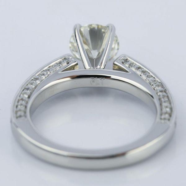 Pave Three Sided Diamond Engagement Ring In Platinum 116