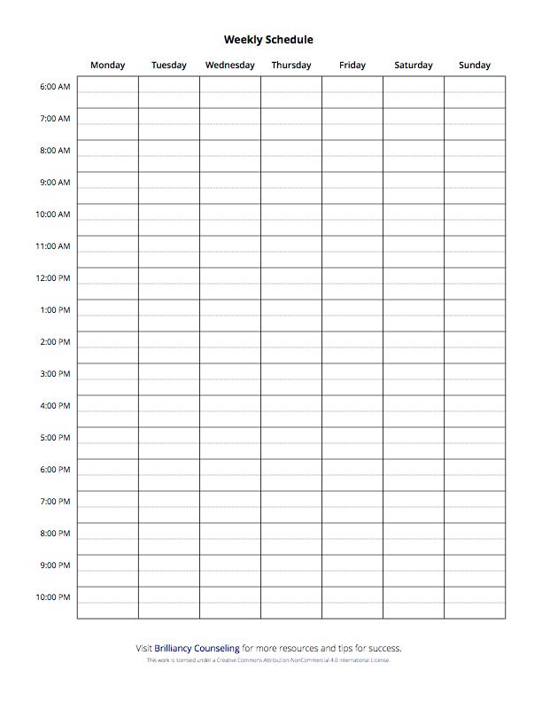 Weekly Schedule- Monday start