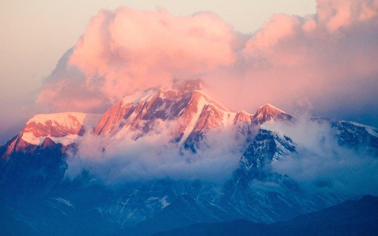 mountain with pastel sunshine