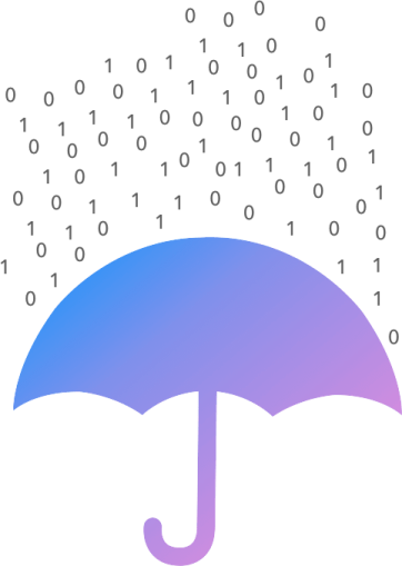Image of blue and purple umbrella sheltering from rain of ones and zeroes