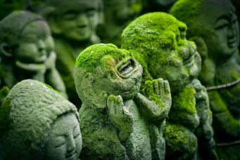 A statue covered in moss in Kyoto