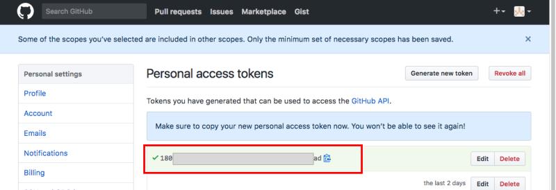 get github token step3