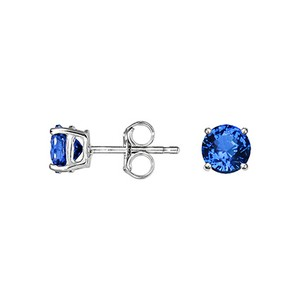 Sapphire Stud Earrings (5mm) in 18K White Gold