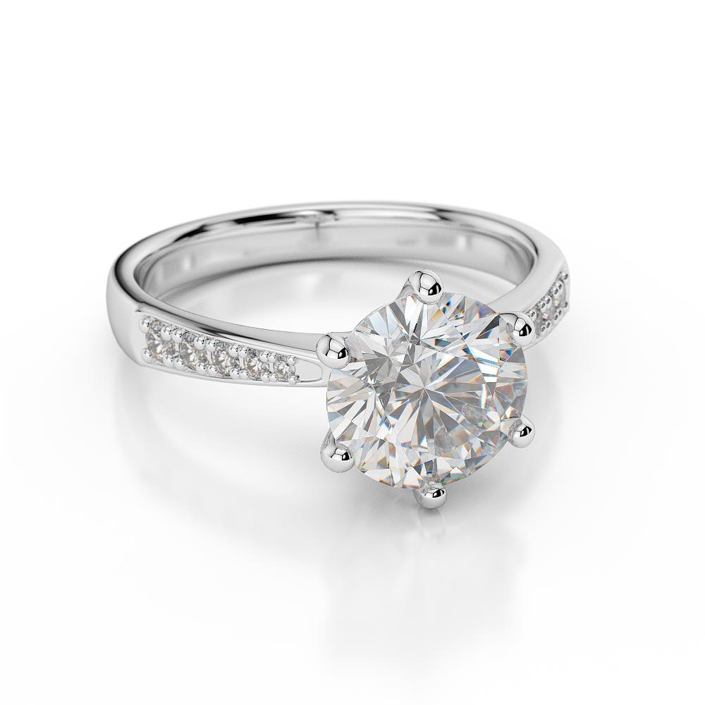 D VVS1 Engagement Ring 2 Carat Round Cut 14k White Gold