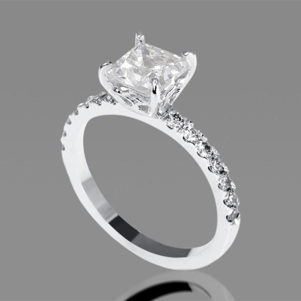 1 Carat Vs2 Enhanced Diamond Engagement Ring Princess Cut 18k White Gold