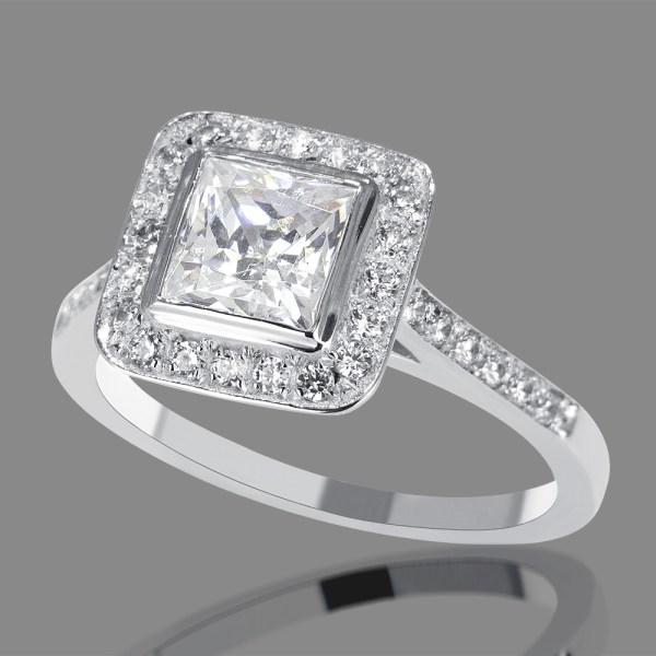 1 Carat Si1 Diamond Engagement Ring Princess Cut 14k White Gold Enhanced